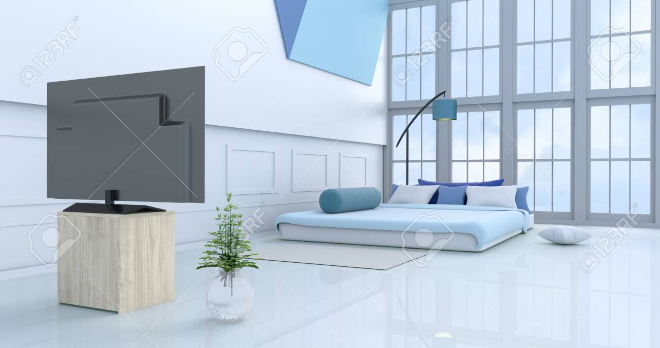 White blue bedroom decorated with light blue bedtree in glass vase pillows