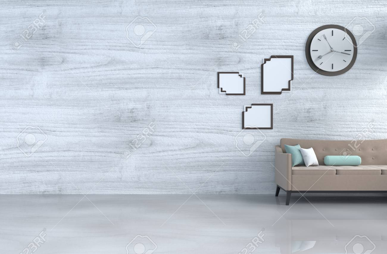 Grey White Living Room Decor With Brown Sofa Wall Clock White Stock Photo Picture And Royalty Free Image Image 99214824