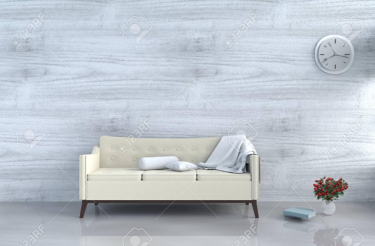 Grey White Living Room Decor With Cream White Sofa Wall Clock