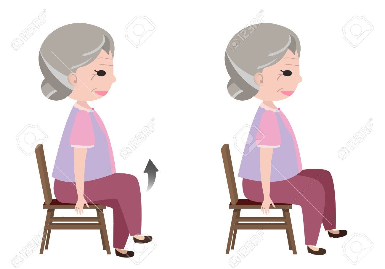 Chair exercise for seniors - Senior Exercise Woman With Seated March Posture Exercise Vector Illustration