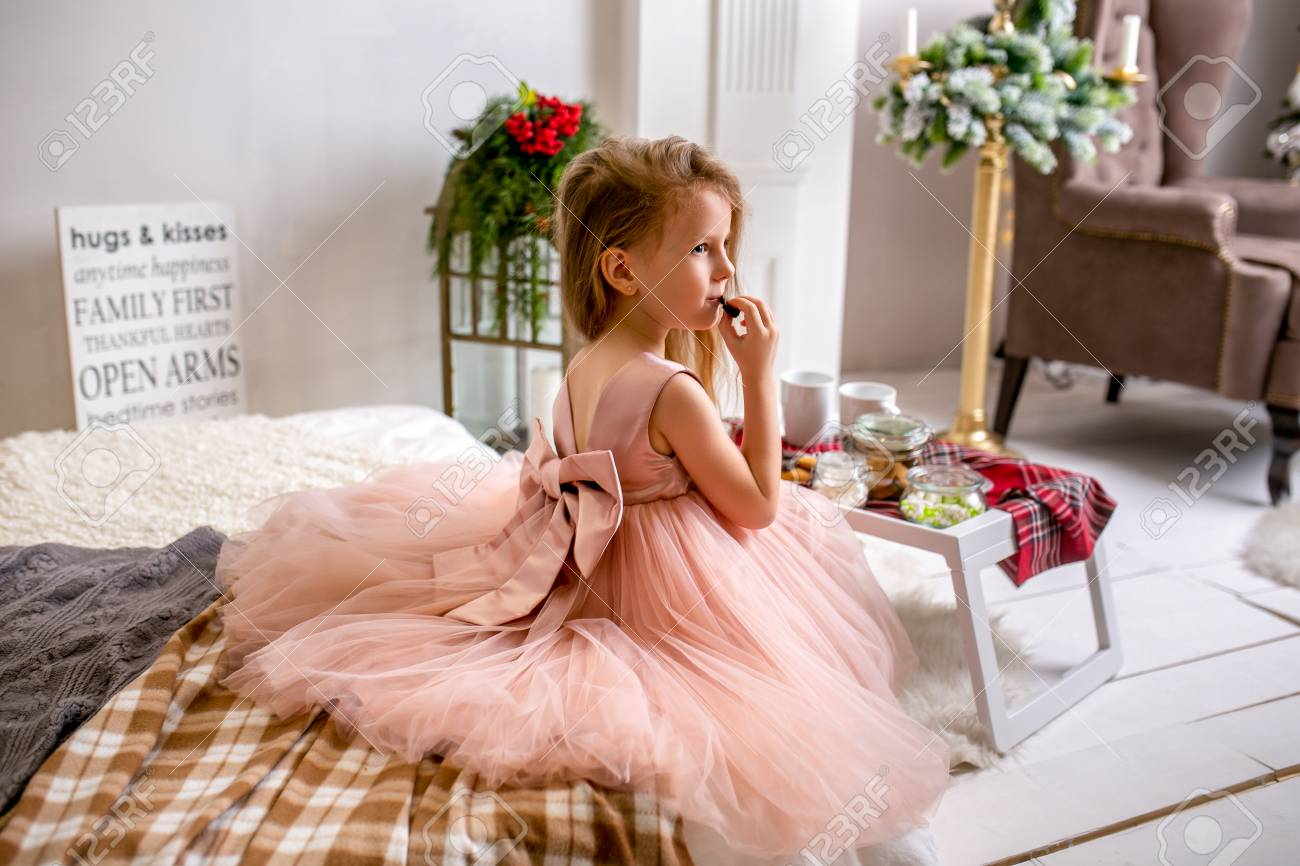 Pretty Little Girl 4 Years Old In A Pink Dress Child The Stock Photo Picture And Royalty Free Image 111559533