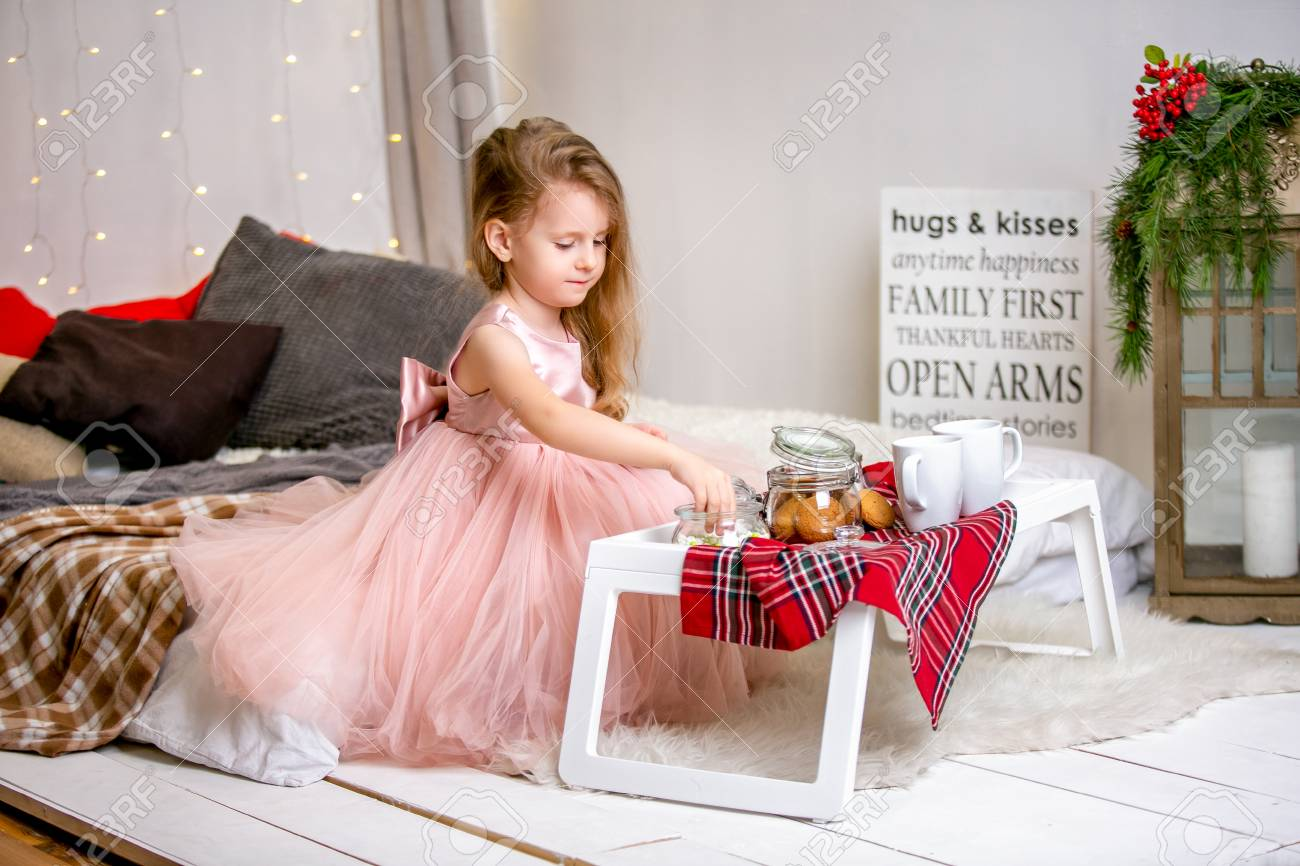 Pretty Little Girl 4 Years Old In A Pink Dress Child The Stock Photo Picture And Royalty Free Image 111559631
