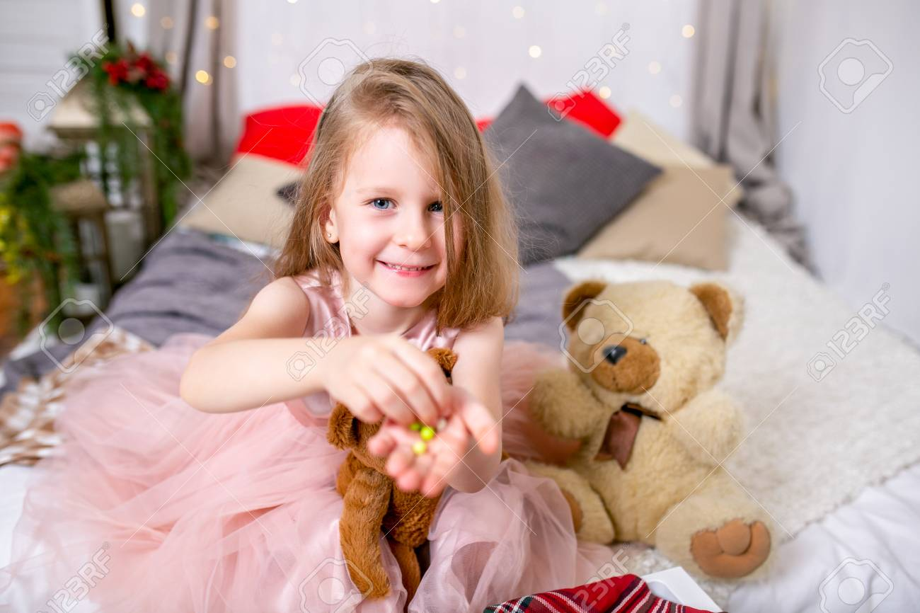 Pretty Little Girl 4 Years Old In A Pink Dress Child The Stock Photo Picture And Royalty Free Image 111559639
