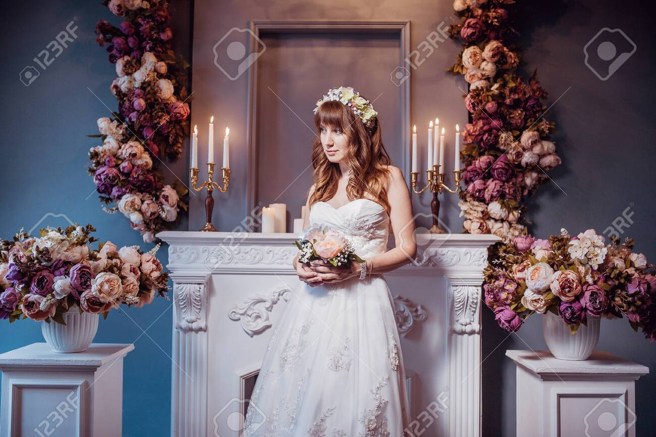 Portrait Of Happy Young Bride In A Classic Interior Near The Stock Photo Picture And Royalty Free Image Image 118649319
