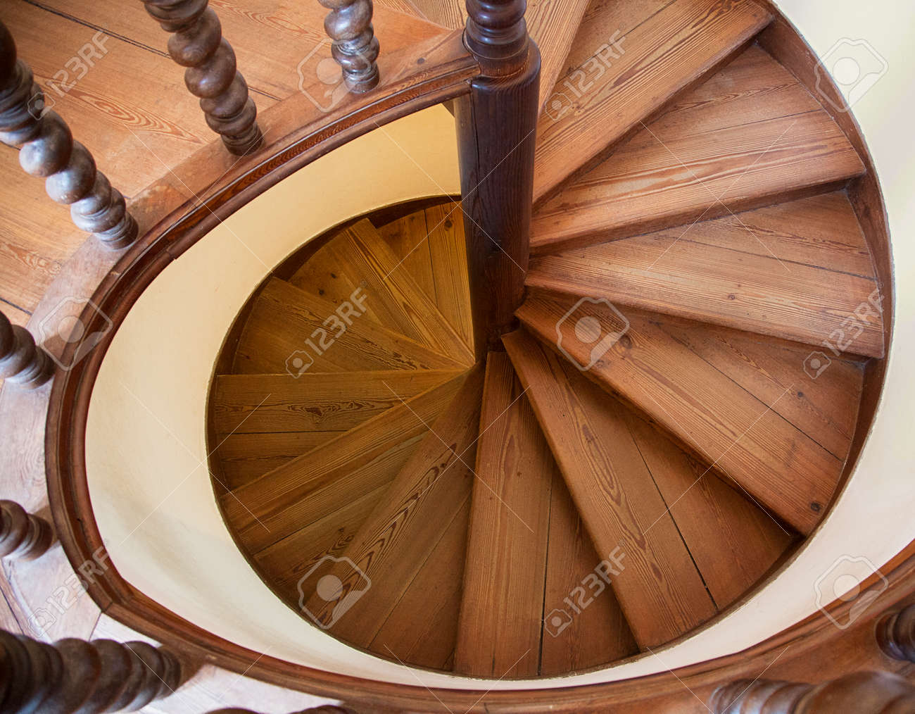Spiral Staircase View From Above Abstract Architecture Stock Photo