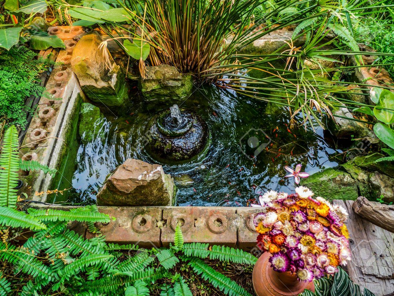 Beautiful Home Garden Fountain Stock Photo Picture And Royalty