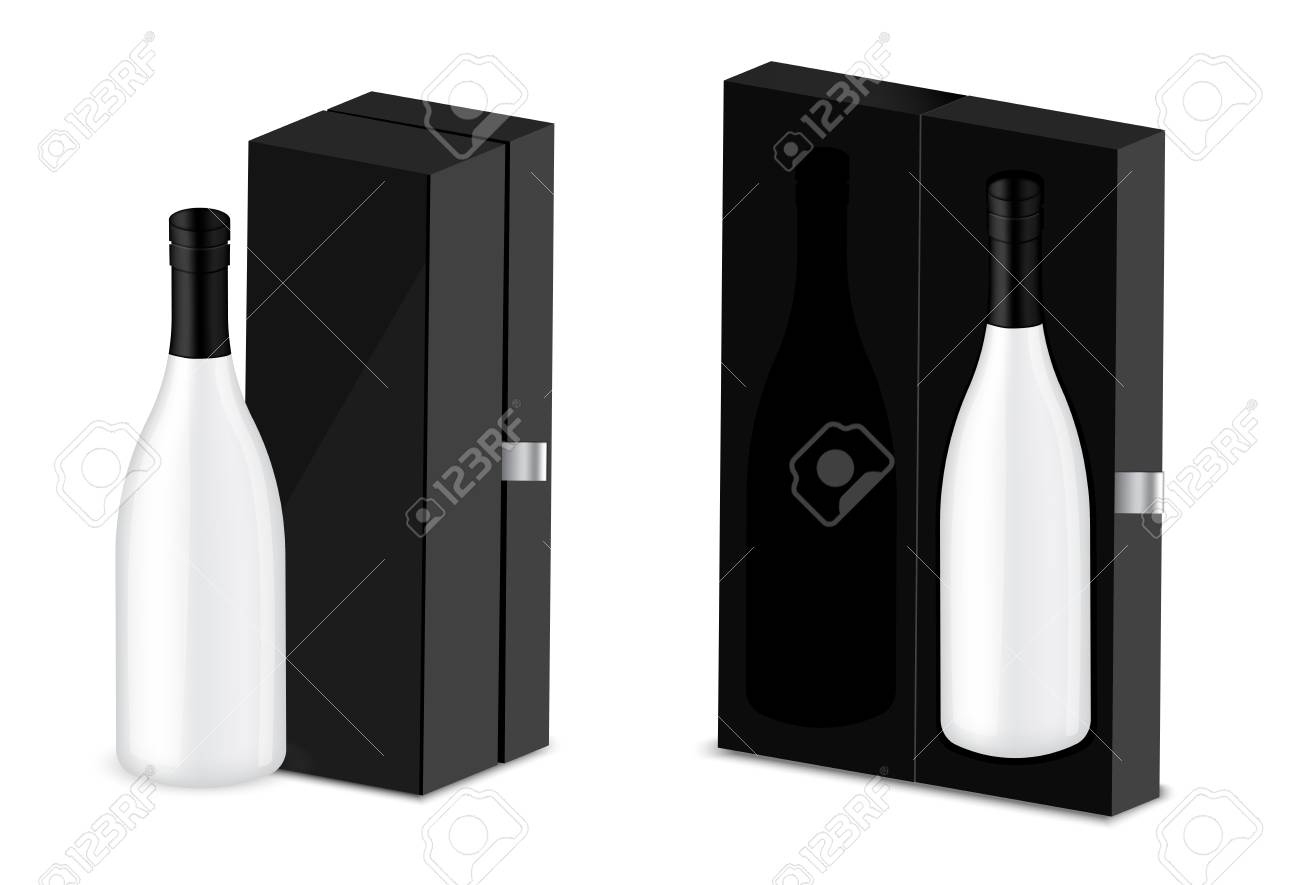 Wine Christmas Packaging.Mock Up Realistic Premium Wine Or Champagne Alcohol Bottle For