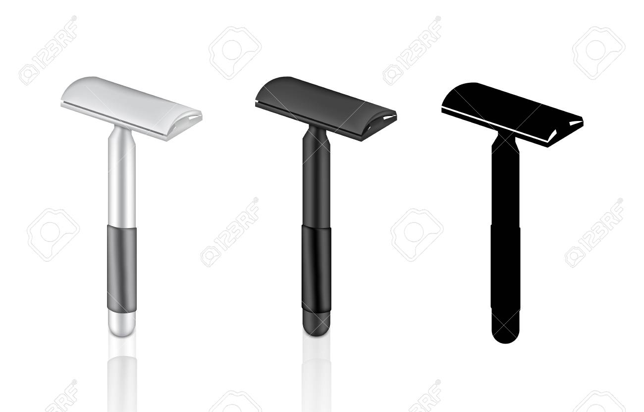 3D Mock up Realistic Shaving Razor for moustache man and hair women for silky smooth skin. - 127456758