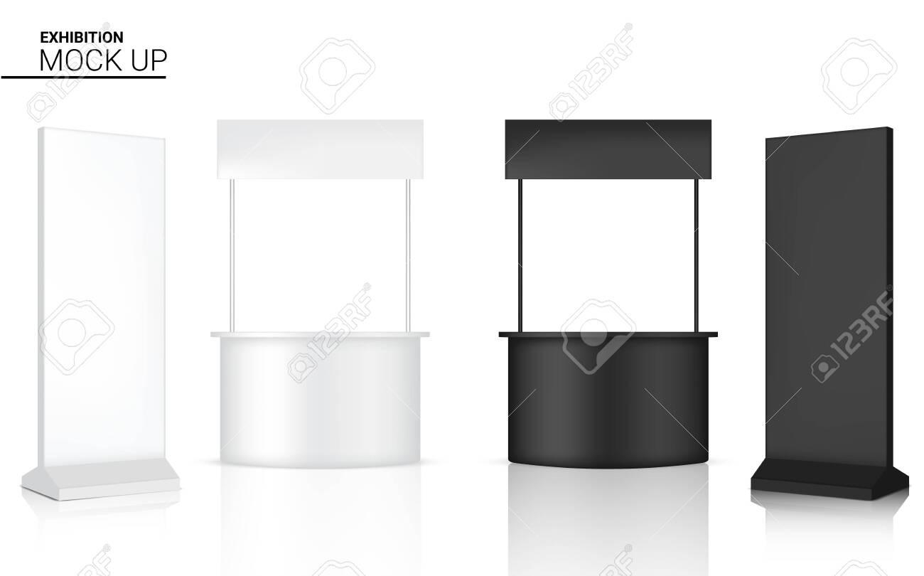 3D Mock up Realistic Kiosk Display POP Booth for Sale Marketing Promotion Exhibition Background Illustration - 134558680
