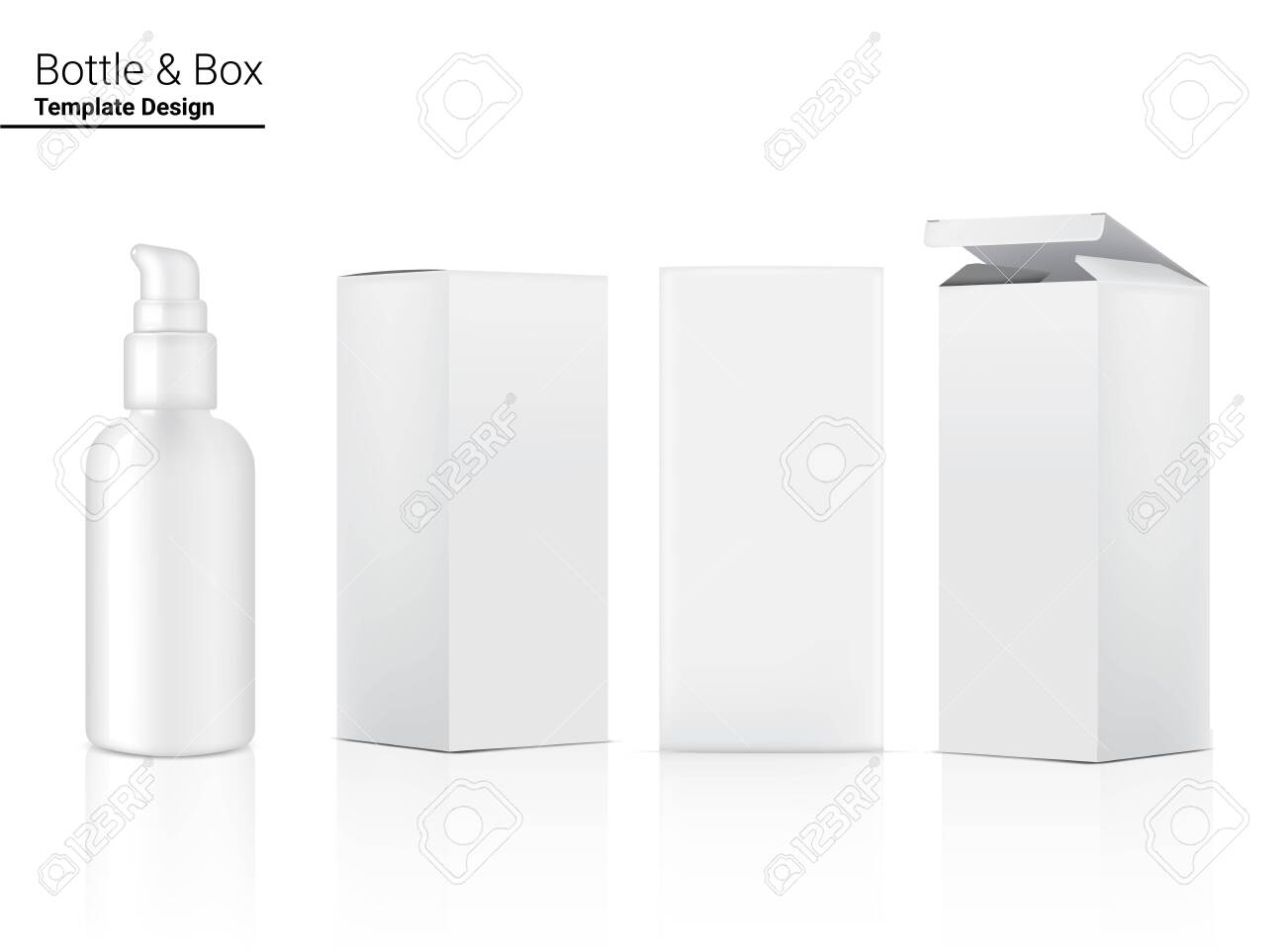 Pump Bottle Mock up Realistic Cosmetic and Box for Skincare Product on White Background Illustration. Health Care and Medical Concept Design. - 142279633