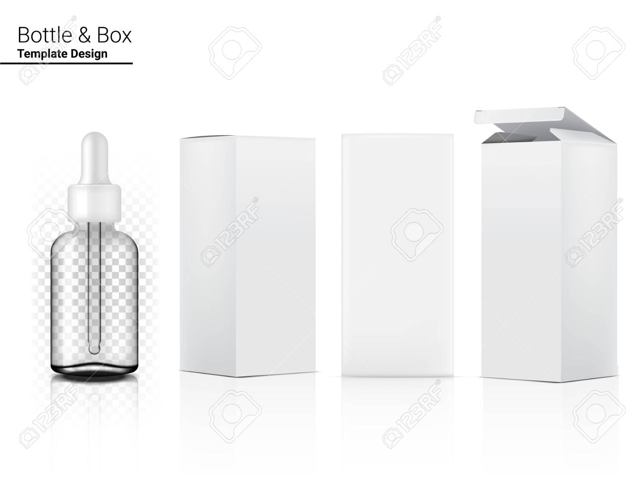 3D Transparent Dropper Bottle Mock up Realistic Cosmetic and Box for Skincare Product on White Background Illustration. Health Care and Medical Concept Design. - 142186920