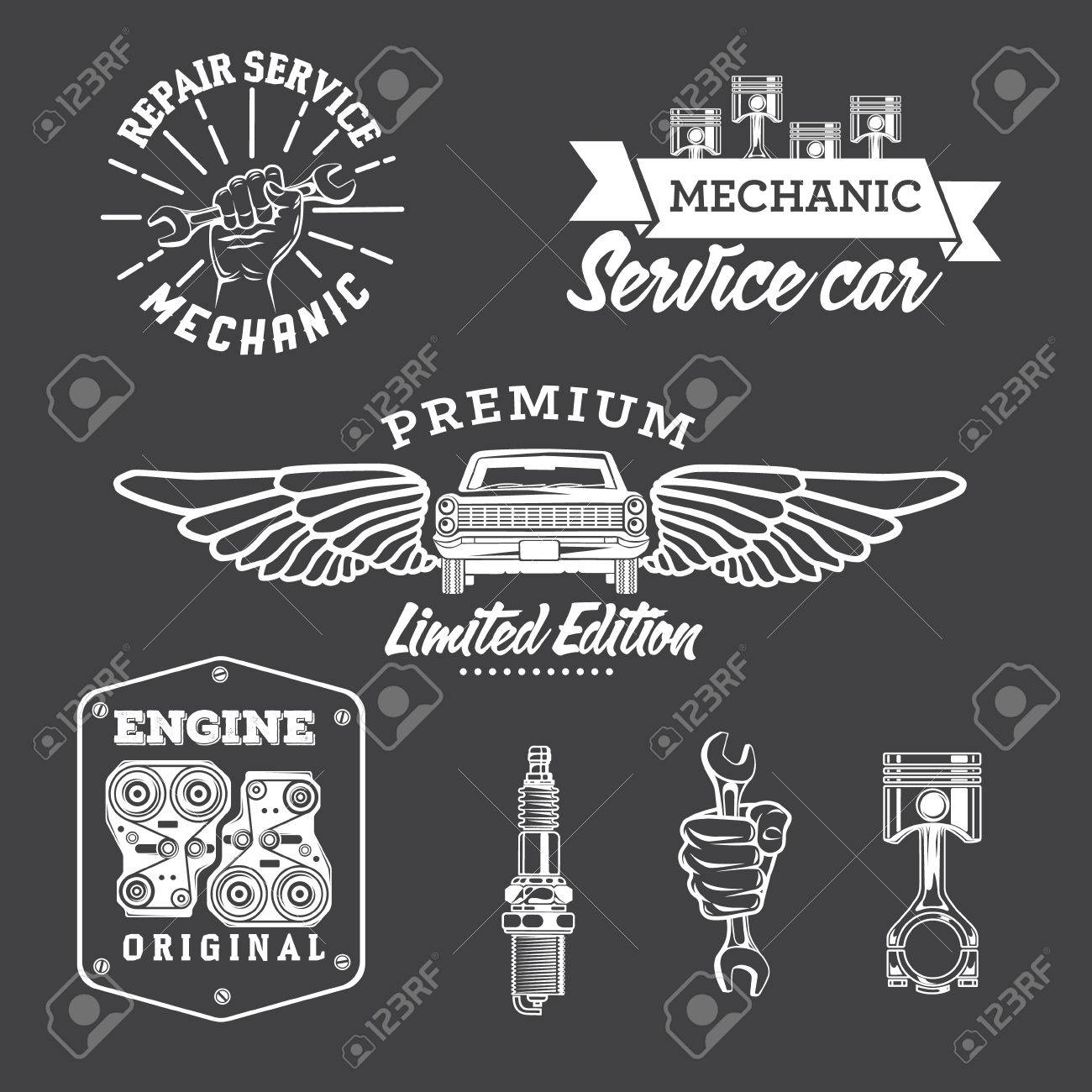 Set Of Vintage Car Labels And Design Elements Royalty Free Cliparts ...
