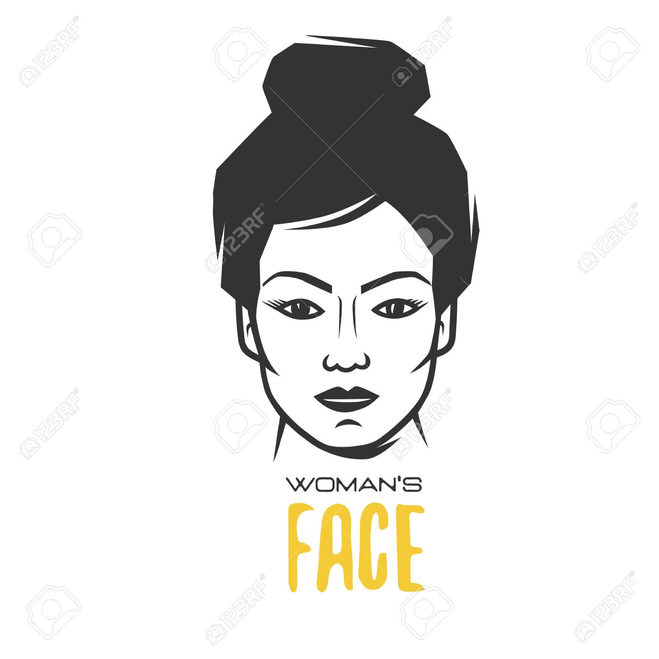 Womens faces black and white vector object stock vector 100468153