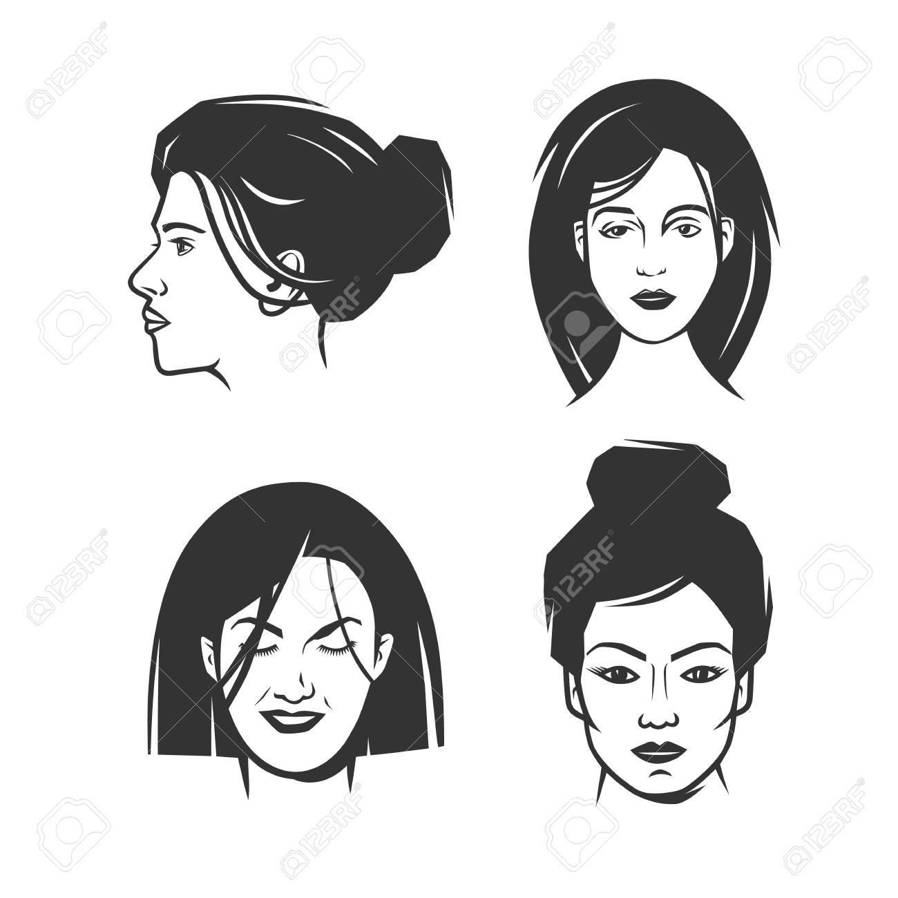 Vector womens faces in black and white vector object