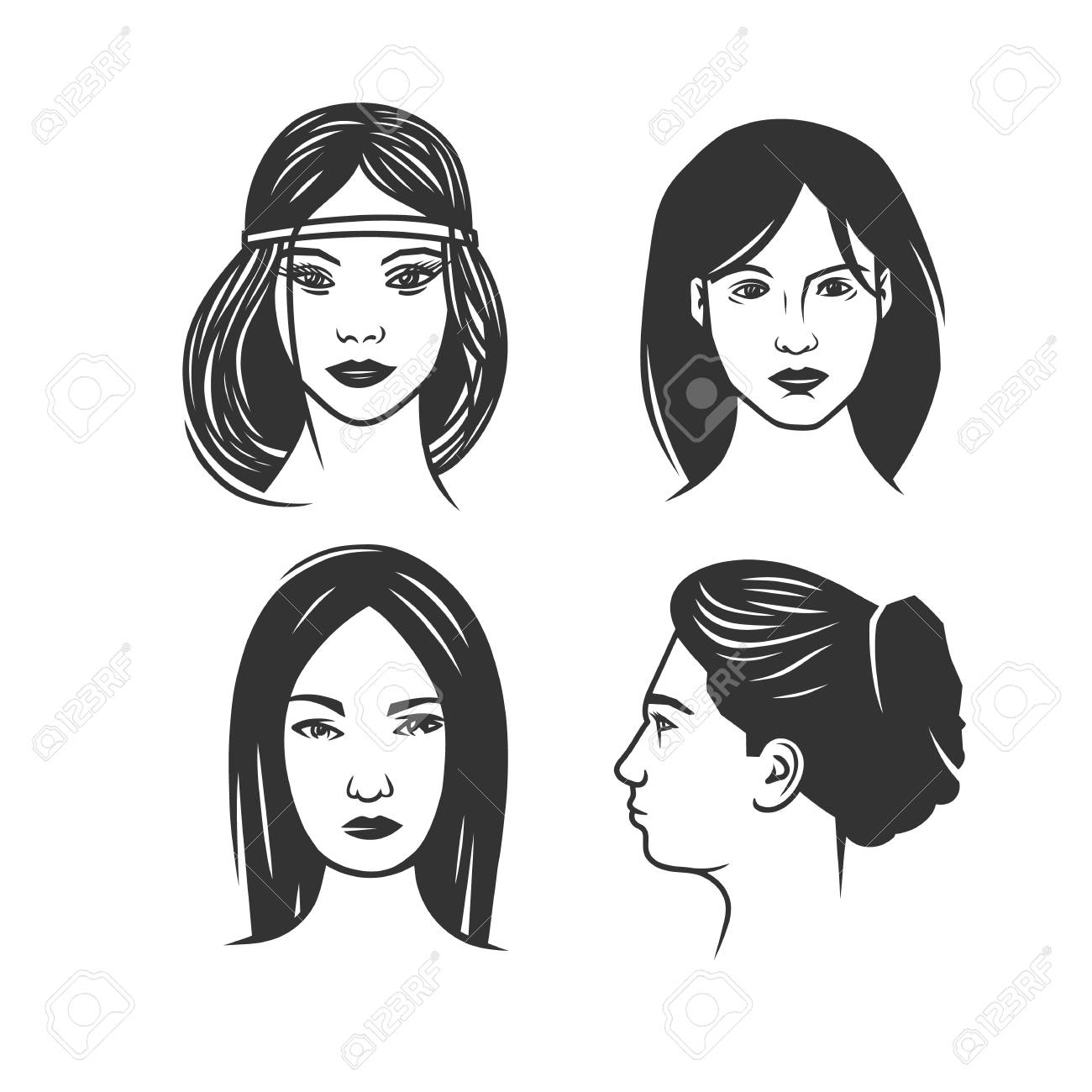 Womens faces black and white vector object stock vector 100526761