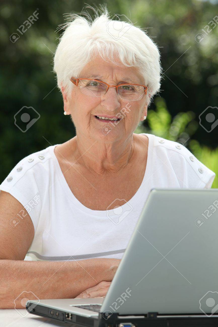 Elderly Using Elderly Woman Using Internet