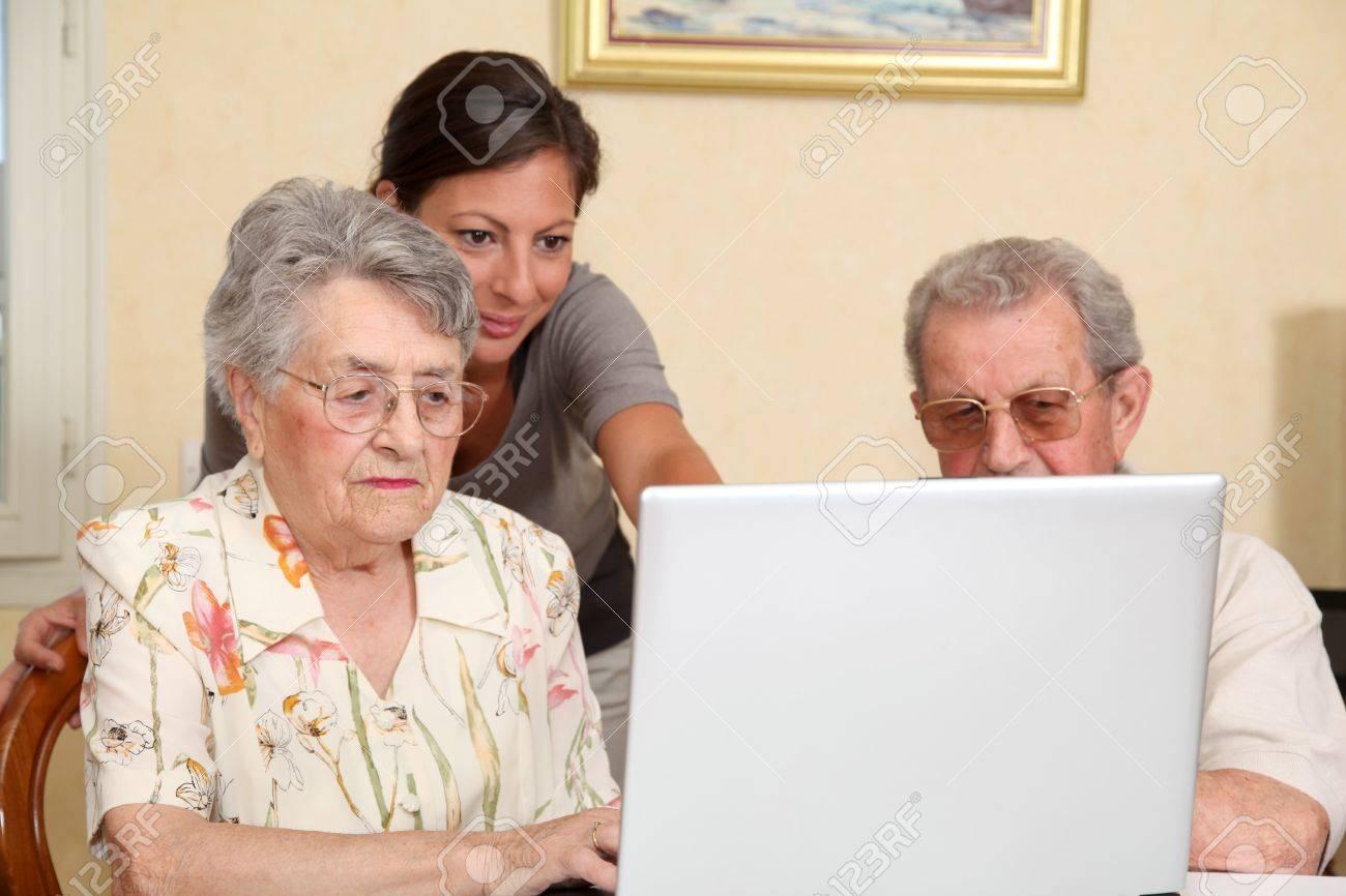Elderly Using The Internet Woman Using Internet Photo