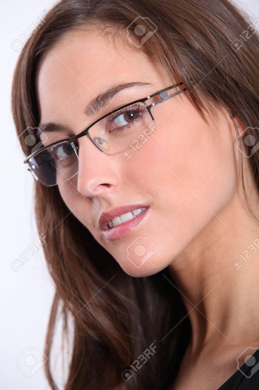 Closeup of beautiful woman wearing eyeglasses Stock Photo - 8374642