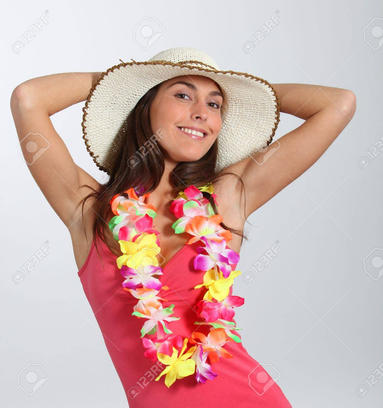 Woman with hawaiian outfit Stock Photo - 8374529