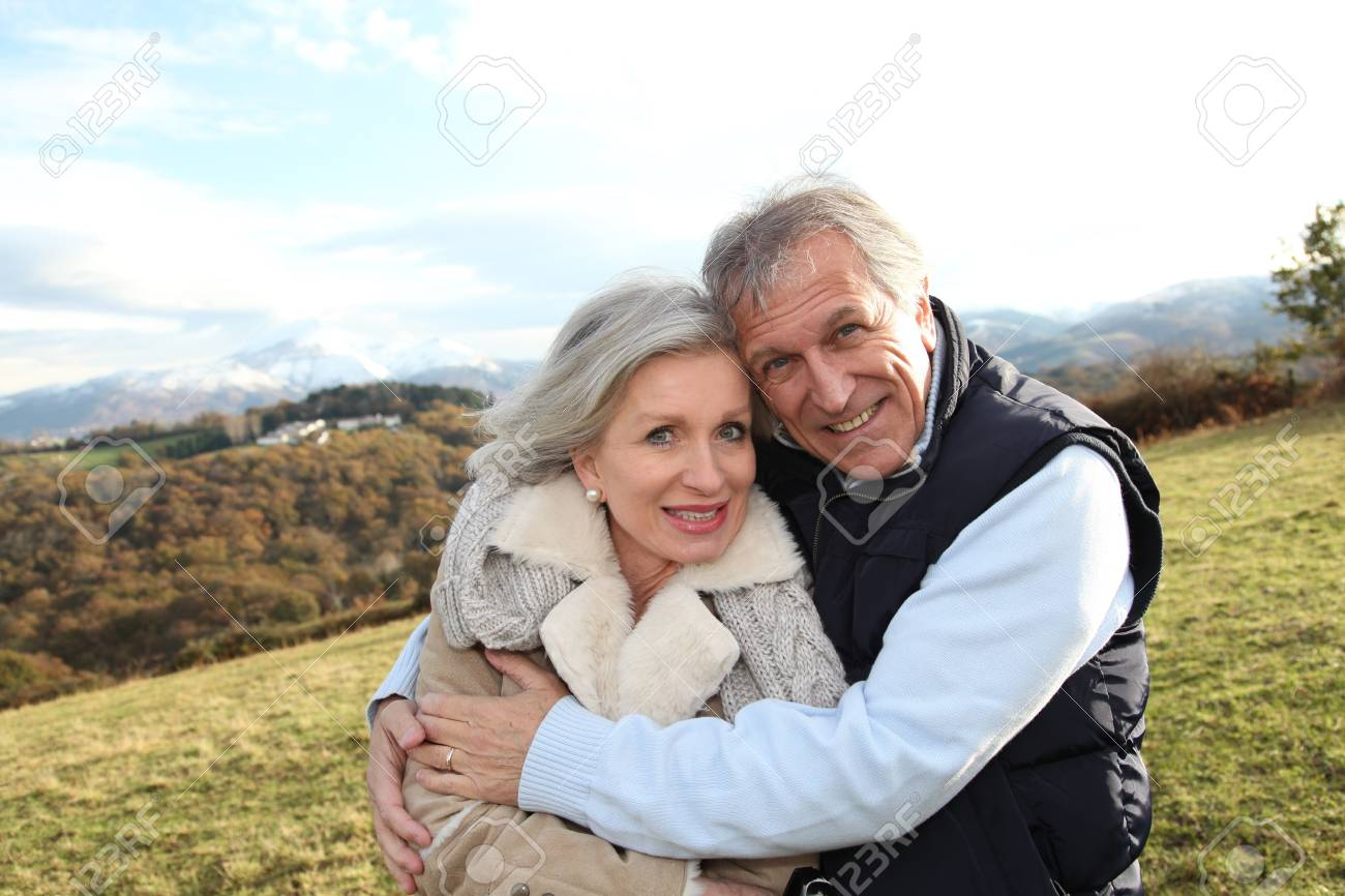 Portrait of happy senior couple in countryside Stock Photo - 8401858