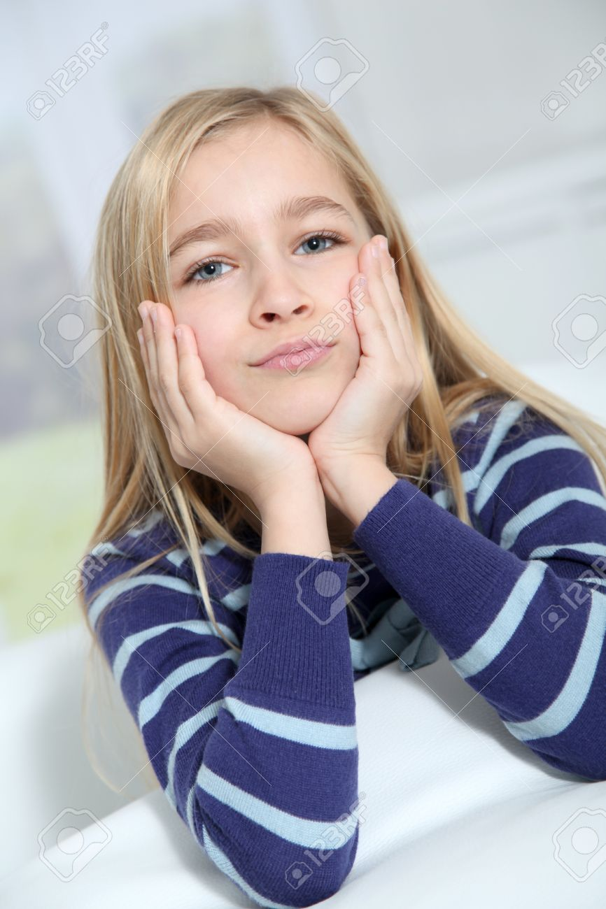 Portrait Of 10-year-old Blond Girl Stock Photo, Picture And Royalty ...