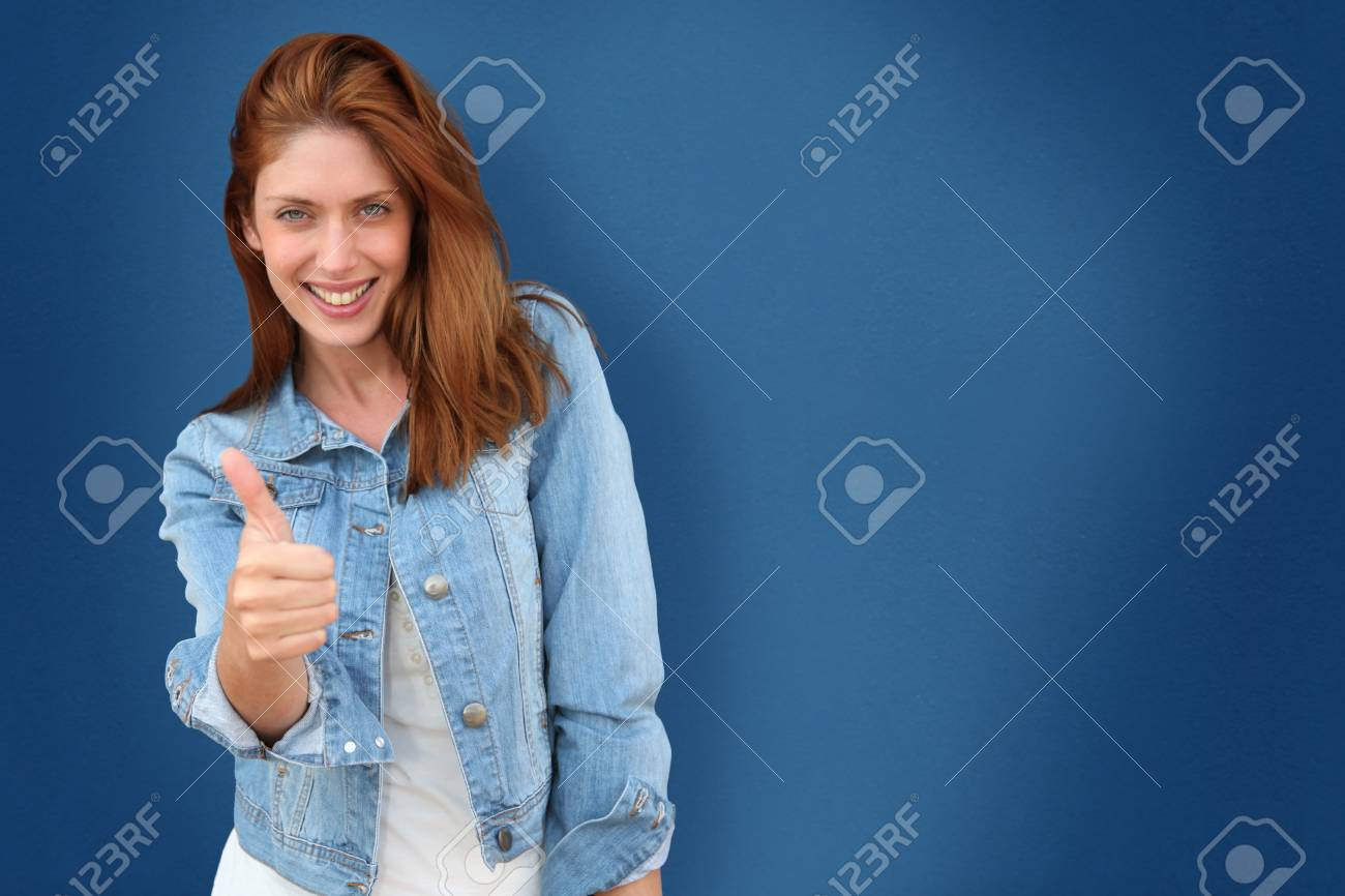 Portrait of beautiful woman on blue background Stock Photo - 9478838