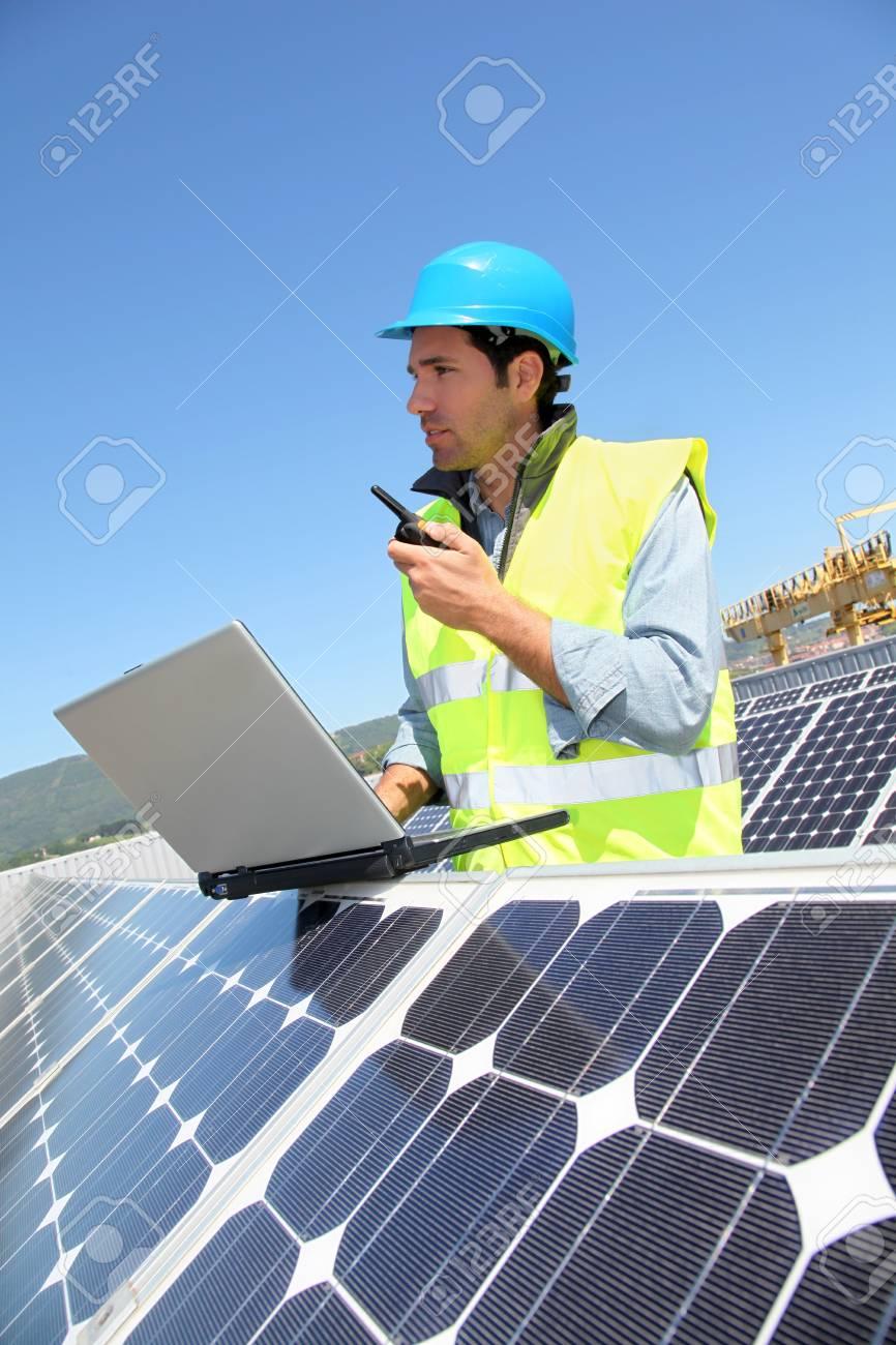 Engineer checking photovoltaic installation Stock Photo - 9634939