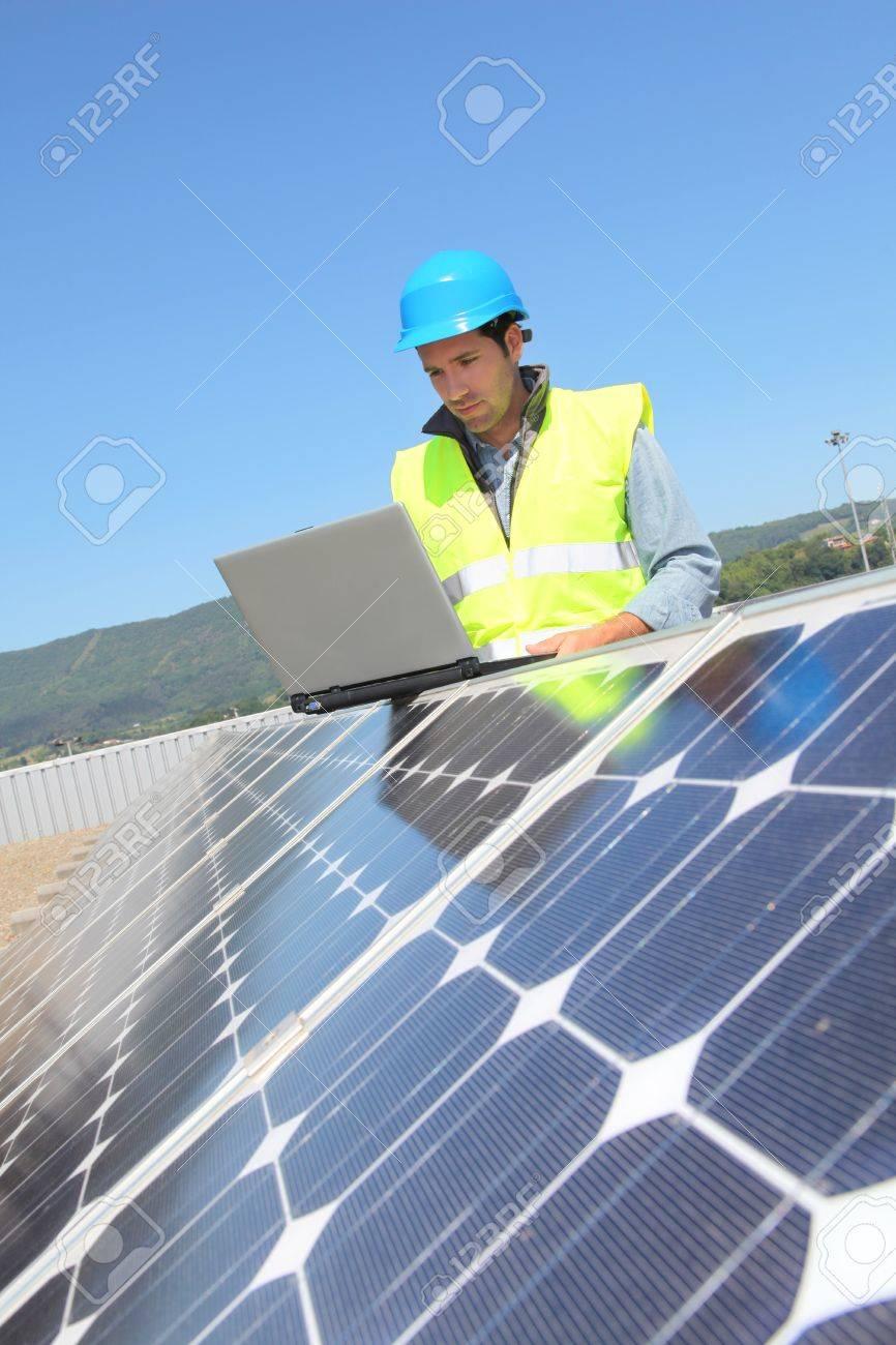 Engineer checking photovoltaic installation Stock Photo - 9635093