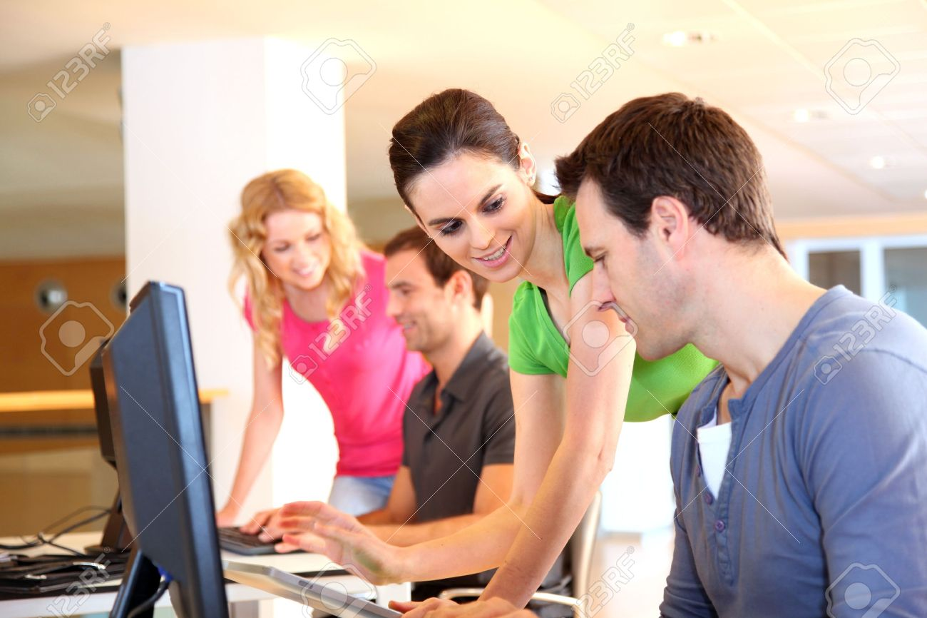 Students in computing training class Stock Photo - 12557102