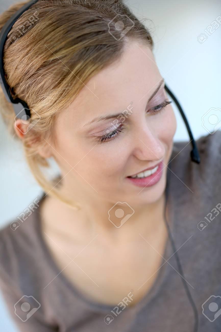 Closeup of beautiful blond teleoperator Stock Photo - 14102907