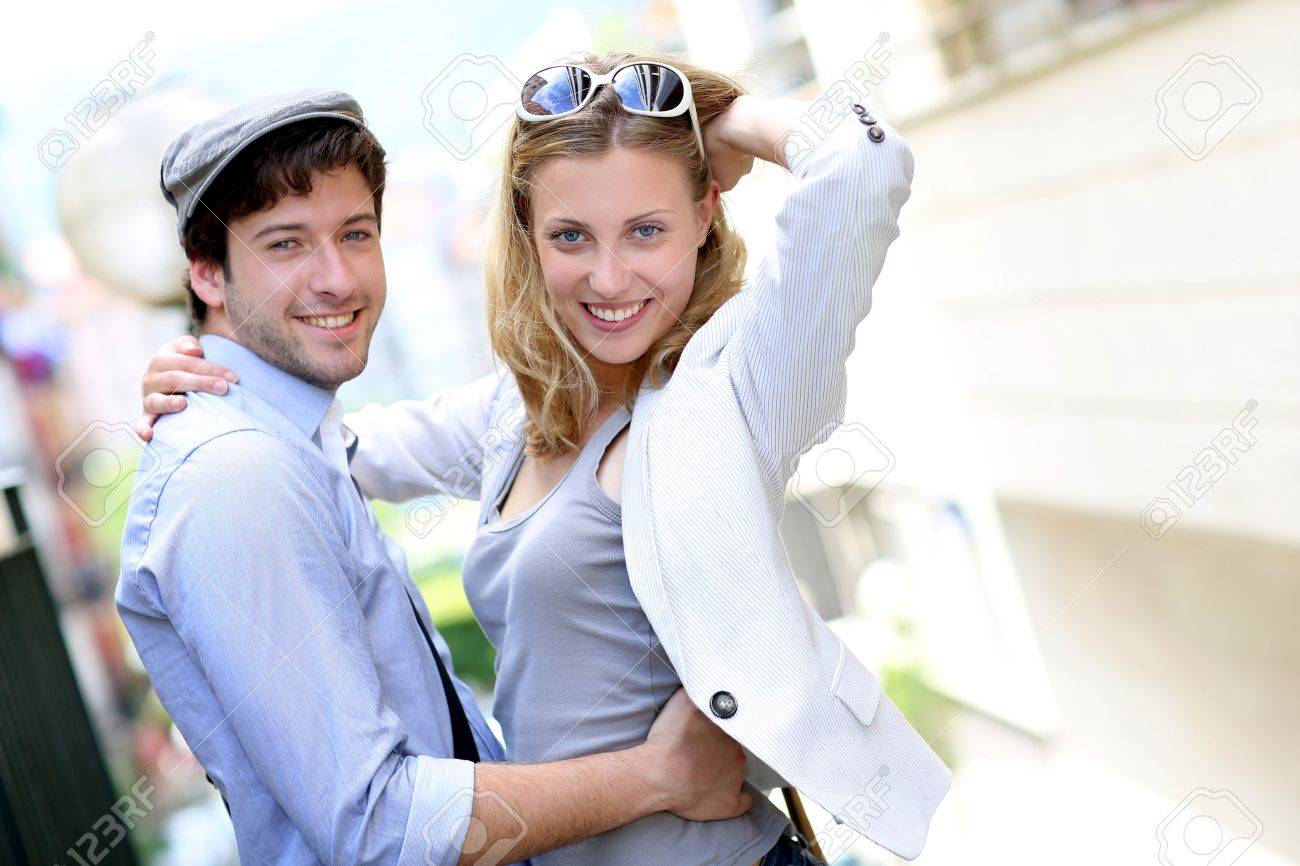 Young couple on a date in town Stock Photo - 14116902