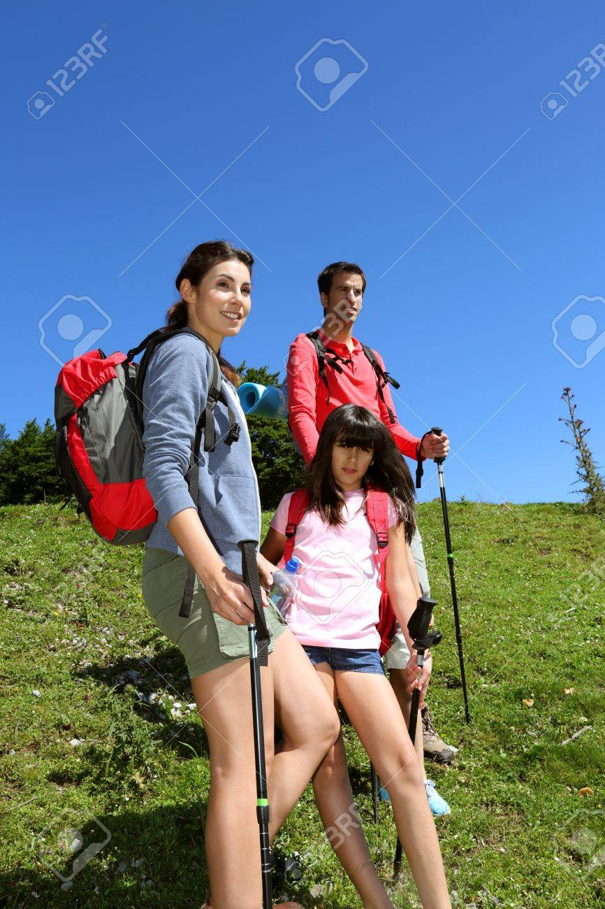 Parents and kids on a trekking day in the mountain Stock Photo - 14663707