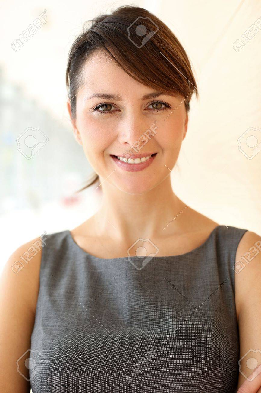 Portrait of elegant businesswoman standing in hallway Stock Photo - 15811242