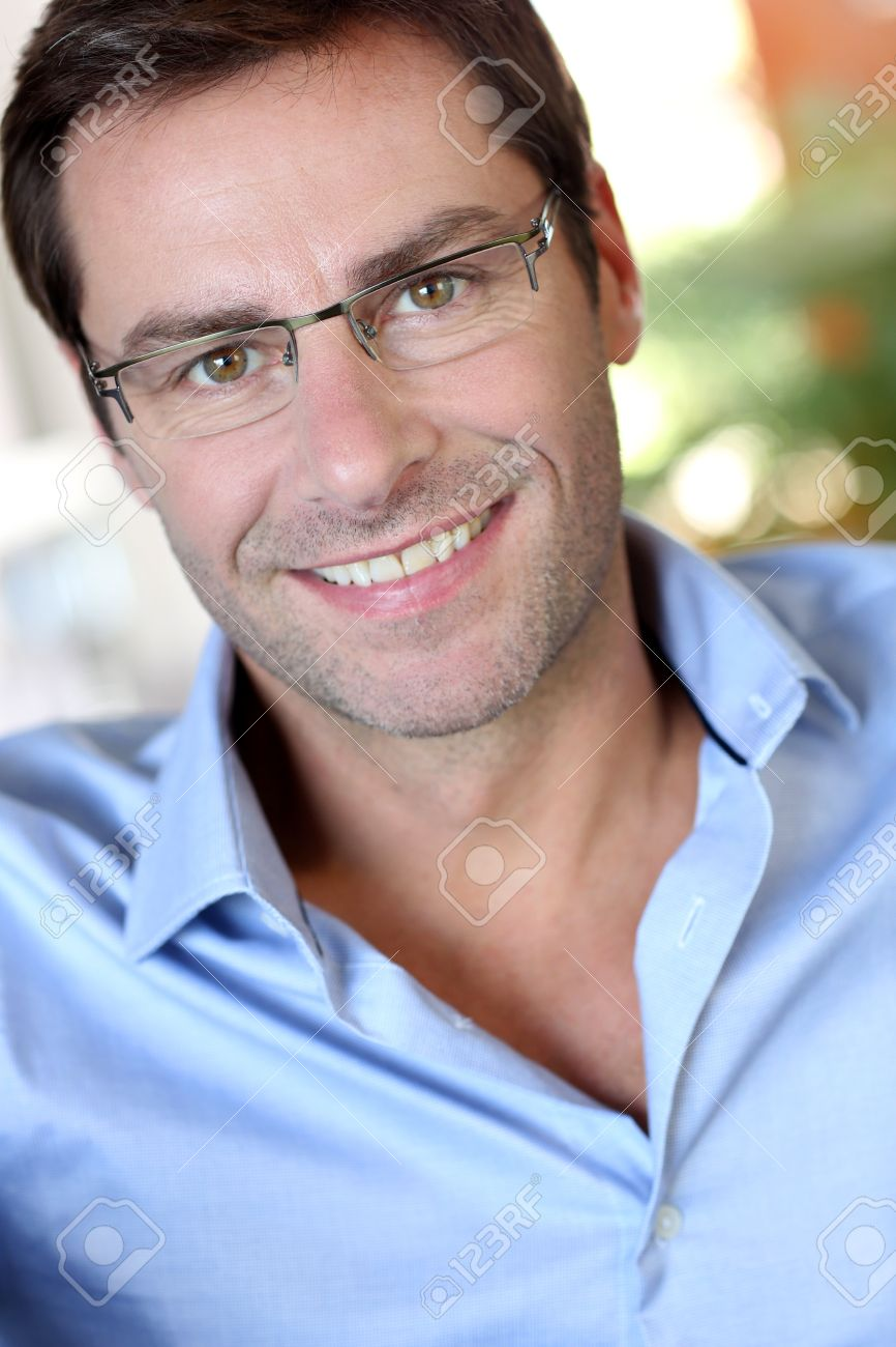 Portrait of middle-aged man with eyeglasses Stock Photo - 15843327