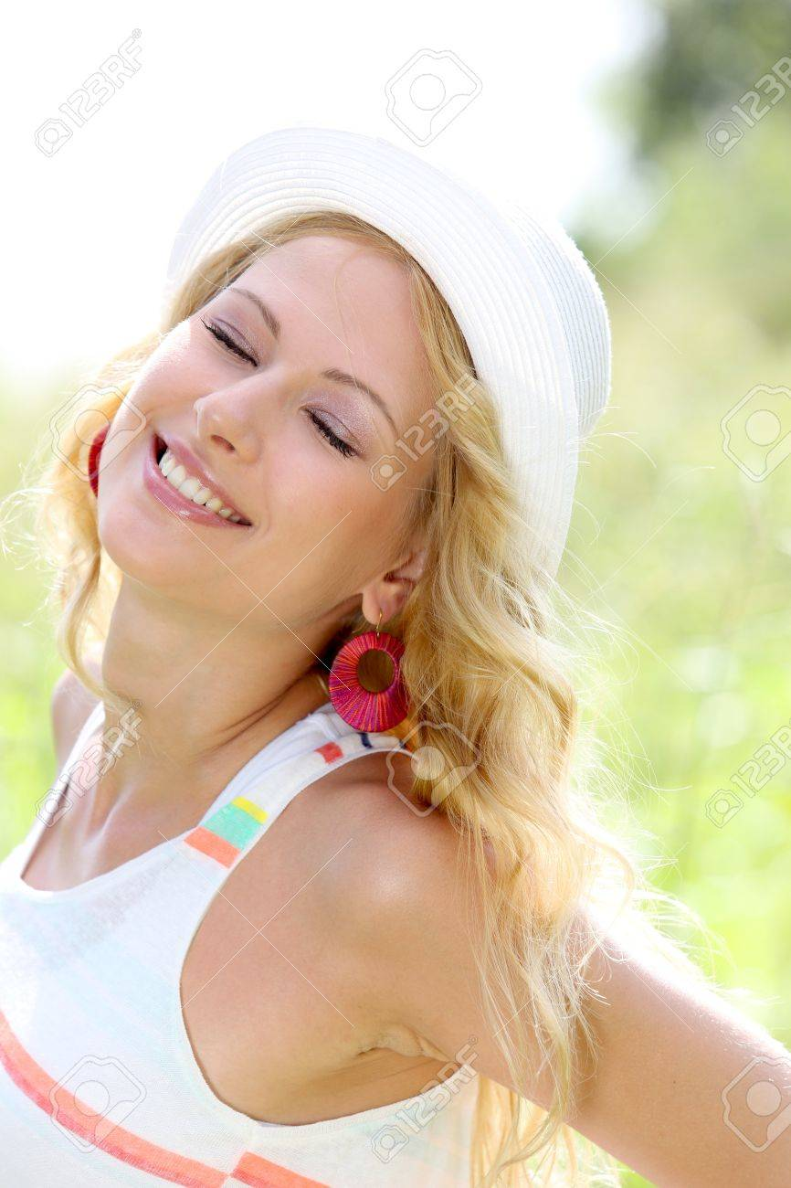Beautiful blond girl in countryside Stock Photo - 17161268