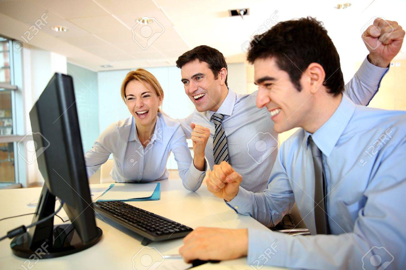 Cheerful sart-up team shouting in office Stock Photo - 17826663