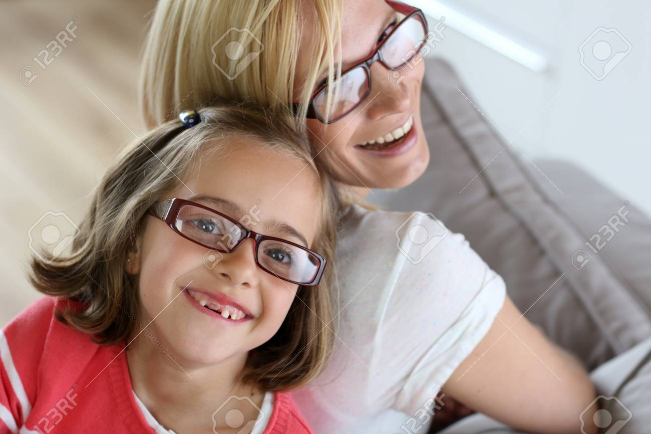 Mother and daughter with eyeglasses on Stock Photo - 18918885