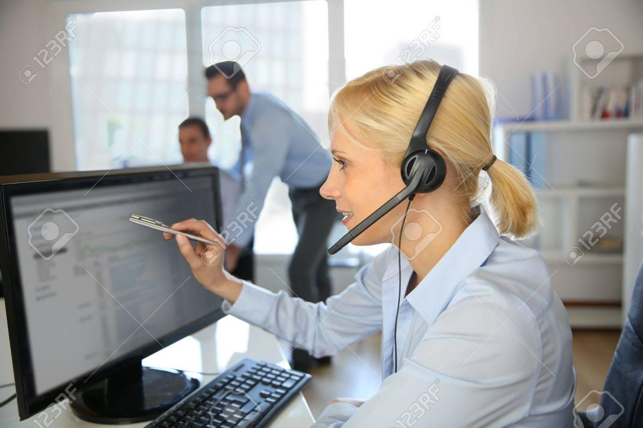 Customer service operator talking on the phone Stock Photo - 18941815