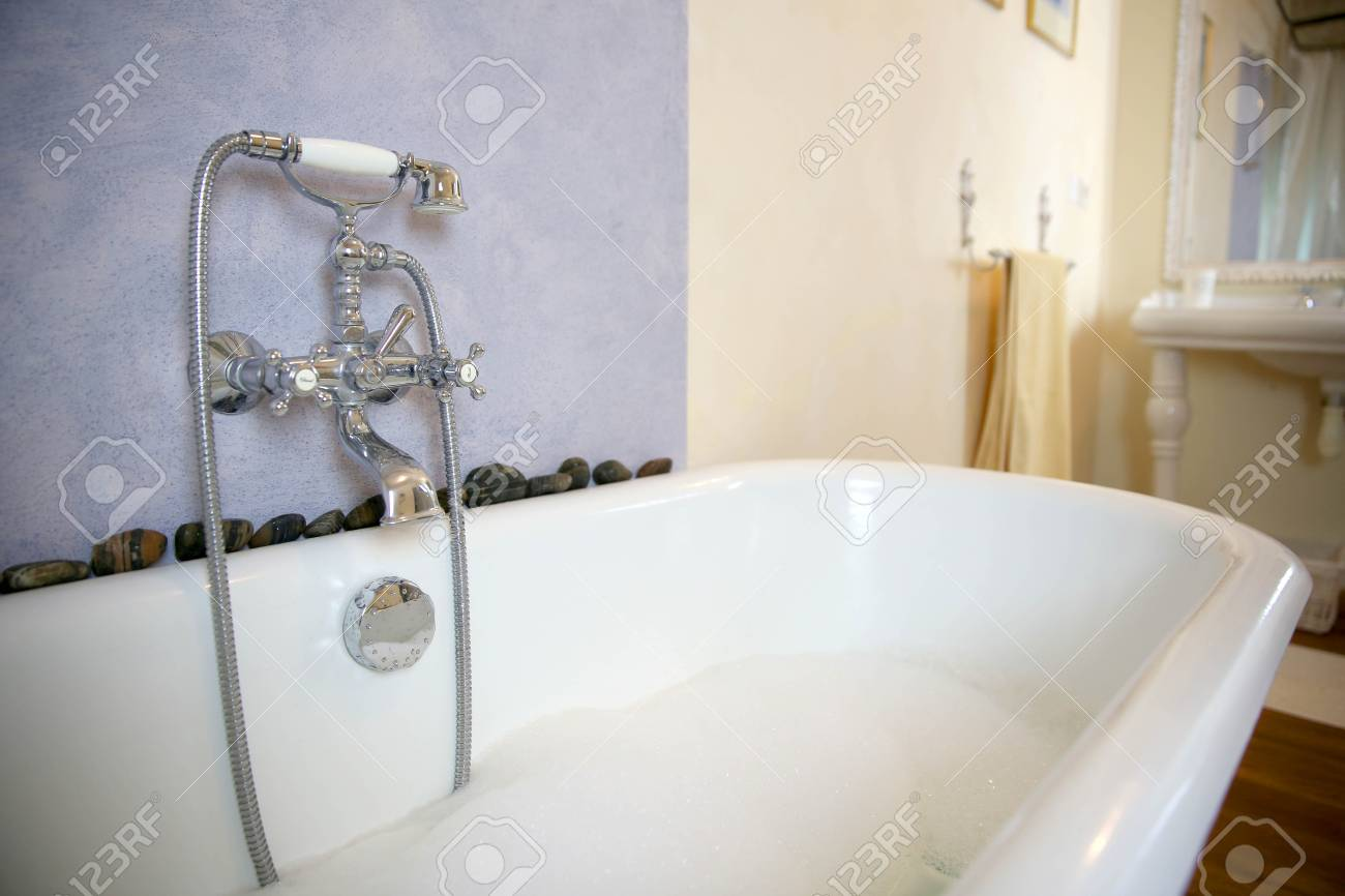 Closeup Of Old Fashioned Bathtub Stock Photo   22559406