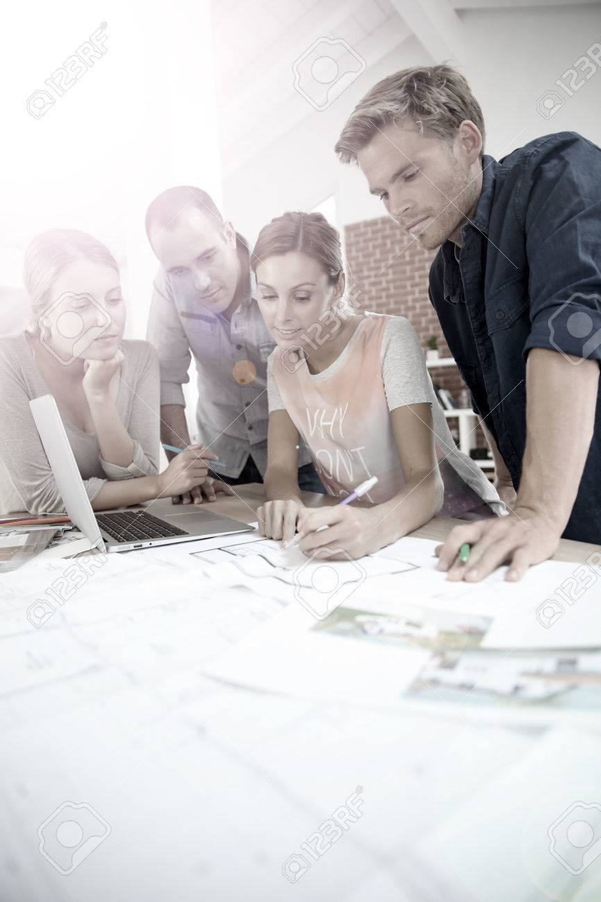 Group Of Young People Studying Architecture Stock Photo   35458146