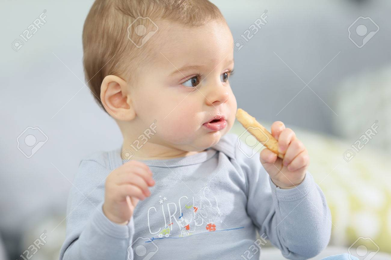 portrait of cute baby boy eating child biscuit stock photo, picture