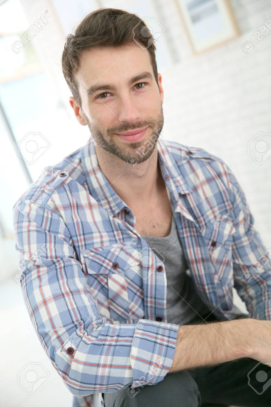Portrait Of Cheerful 30-year-old Man Stock Photo, Picture And ...