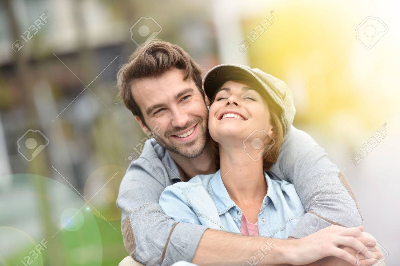 Portrait of in love young couple in town Stock Photo - 48978728