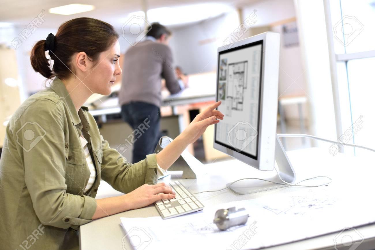 Industrial designer working on desktop computer Standard-Bild - 50631045