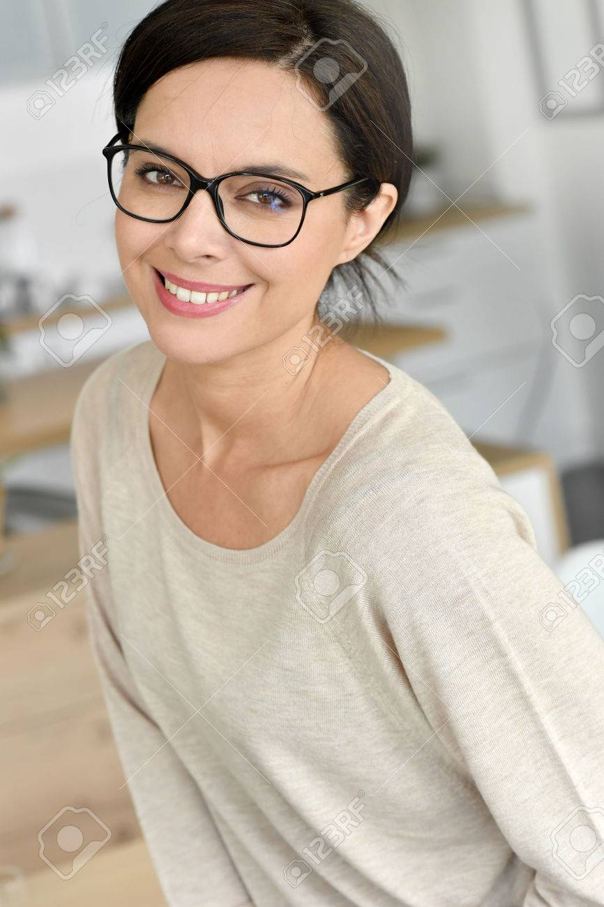 attractive 40 year old woman with eyeglasses stock photo picture