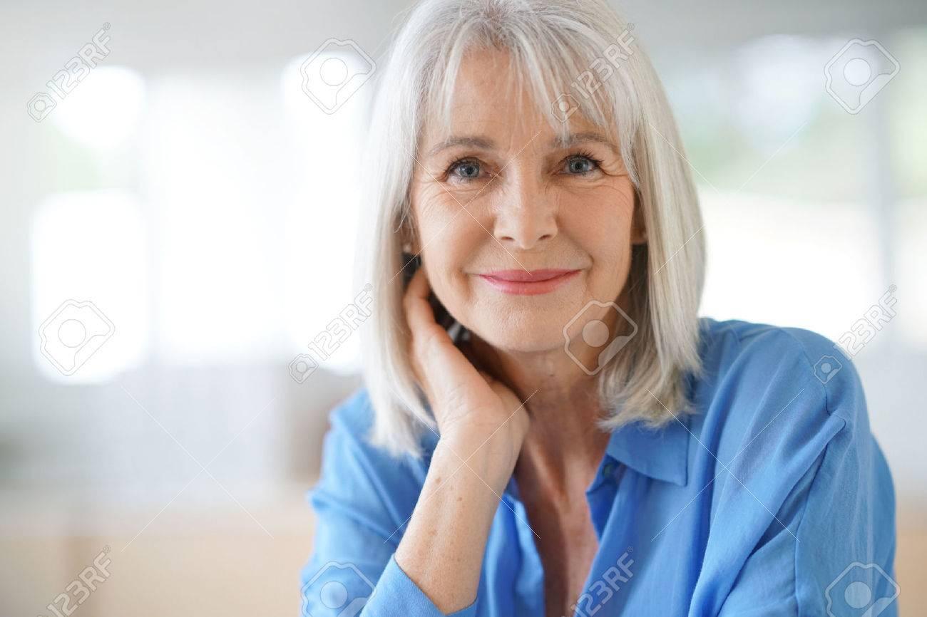 Portrait of senior woman with blue shirt - 69045102