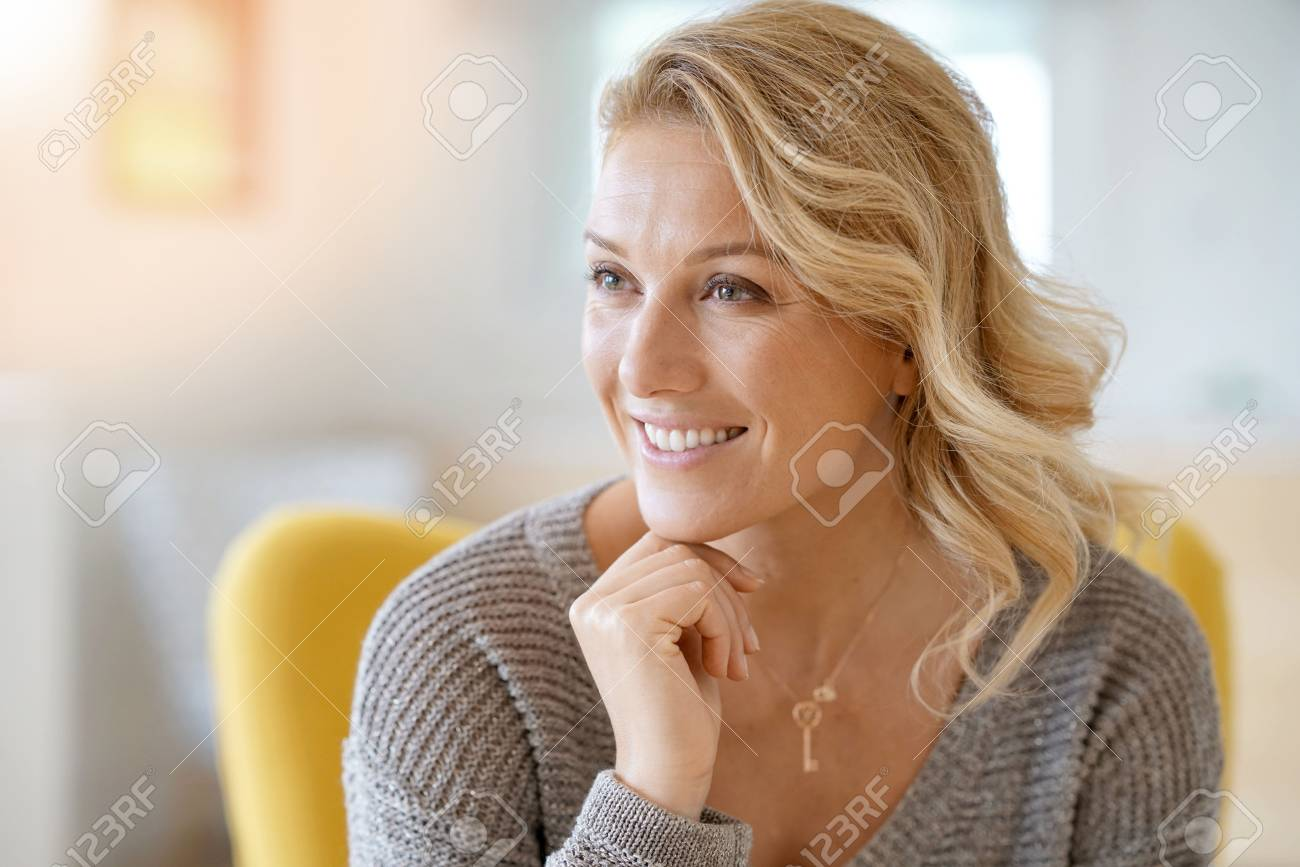 Portrait of beautiful 40-year-old blond woman - 86759171