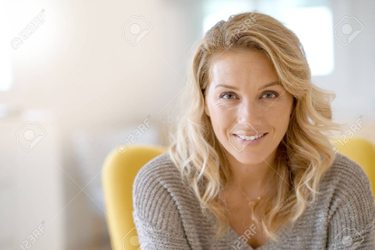Portrait of beautiful 40-year-old blond woman - 86582111
