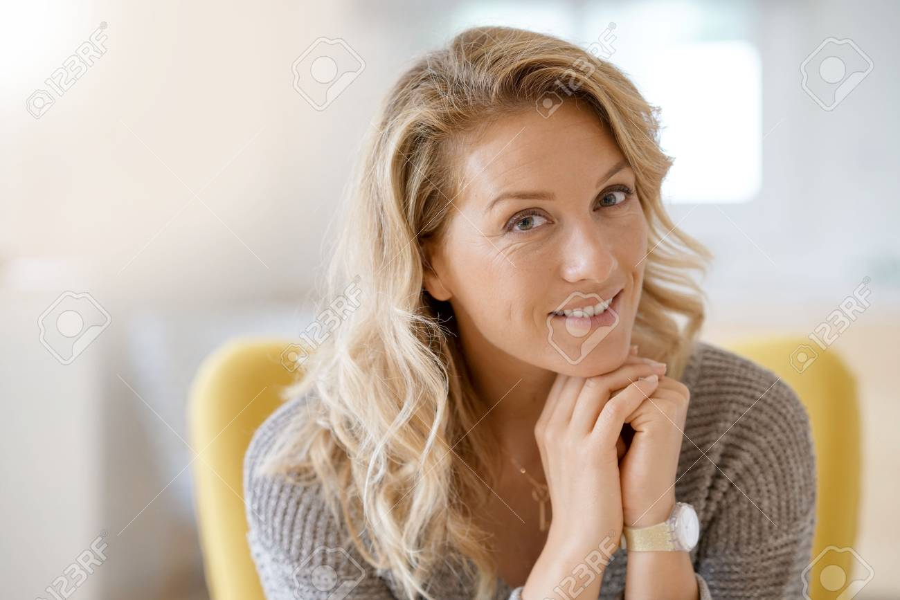Portrait of beautiful 40-year-old blond woman - 86582115