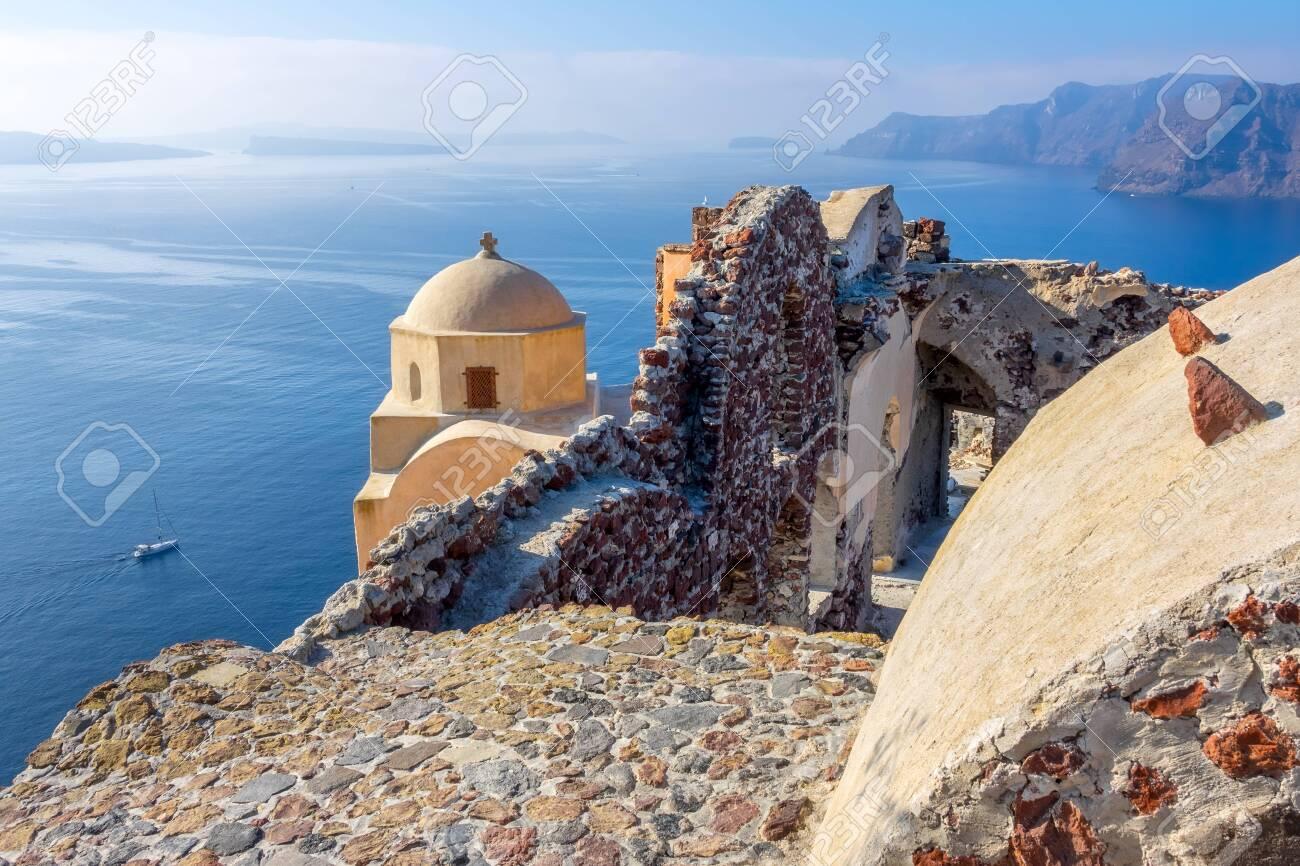 Greece. Santorini Thira Island In Sunny Weather. Church And Old ...